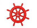 Handcrafted Model Ships New-Red-SW-12-Anchor Red Decorative Ship Wheel With Anchor 12
