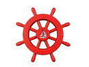 Handcrafted Model Ships New-Red-SW-12-Sailboat Red Decorative Ship Wheel With Sailboat 12