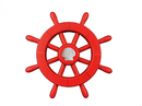 Handcrafted Model Ships New-Red-SW-12-Seashell Red Decorative Ship Wheel With Seashell 12