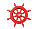 Handcrafted Model Ships New-Red-SW-12-Starfish Red Decorative Ship Wheel With Starfish 12