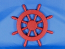 Handcrafted Model Ships New-Red-SW-12 Red Ship Wheel 12