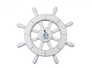 Handcrafted Model Ships New-White-SW-12-Sailboat White Decorative Ship Wheel With Sailboat 12