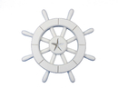 Handcrafted Model Ships New-White-SW-12-Starfish White Decorative Ship Wheel With Starfish 12