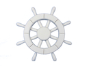 Handcrafted Model Ships New-White-SW-12 White Ship Wheel 12