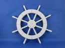 Handcrafted Model Ships New-White-SW-Anchor-18 White Ship Wheel with Anchor 18