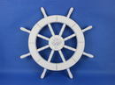 Handcrafted Model Ships New-White-SW-Palm-Tree-18 White Ship Wheel with Palm Tree 18