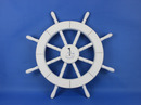 Handcrafted Model Ships New-White-SW-Sailboat-18 White Ship Wheel with Sailboat 18