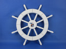 Handcrafted Model Ships New-White-SW-Seagull-and-Lifering-18 White Ship Wheel with Seagull and Lifering 18