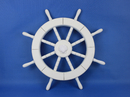 Handcrafted Model Ships New-White-SW-Seashell-18 White Ship Wheel with Seashell 18