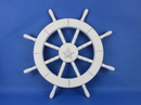 Handcrafted Model Ships New-White-SW-Starfish-18 White Ship Wheel with Starfish 18