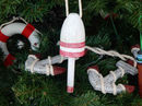 Handcrafted Model Ships one-vintage-dark-red-LB-7-XMASS Vintage Dark Red Decorative  Lobster Trap Buoy Christmas Tree Ornament