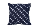 Handcrafted Model Ships Pillow 117 Decorative Blue Pillow With White Anchors Nautical Pillow 16&Quot;