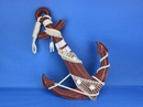 Handcrafted Model Ships Red-Anchor-24 Wooden Rustic Red Anchor w/ Hook Rope and Shells 24
