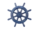 Handcrafted Model Ships Rustic-All-Dark-Blue-SW-12 Rustic All Dark Blue Ship Wheel 12
