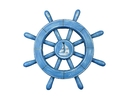 Handcrafted Model Ships rustic-all-light-blue-sw-12-sailboat Rustic All Light Blue Decorative Ship Wheel With Sailboat 12