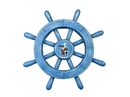 Handcrafted Model Ships rustic-all-light-blue-sw-12-seagull Rustic All Light Blue Decorative Ship Wheel With Seagull 12