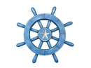 Handcrafted Model Ships rustic-all-light-blue-sw-12-starfish Rustic All Light Blue Decorative Ship Wheel With Starfish 12