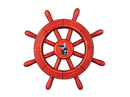 Handcrafted Model Ships Rustic-All-Red-SW-12-Seagull Rustic All Red Decorative Ship Wheel With Seagull 12