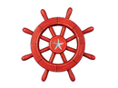 Handcrafted Model Ships Rustic-All-Red-SW-12-Starfish Rustic All Red Decorative Ship Wheel With Starfish 12