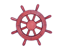Handcrafted Model Ships Rustic-All-Red-SW-12 Rustic All Red Ship Wheel 12