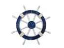 Handcrafted Model Ships Rustic-Dark-Blue-SW-18 Rustic Dark Blue Ship Wheel 18