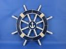 Handcrafted Model Ships Rustic-Dark-Blue-SW-Anchor-18 Rustic Dark Blue Ship Wheel with Anchor 18