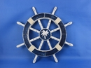 Handcrafted Model Ships Rustic-Dark-Blue-SW-Palm-Tree-18 Rustic Dark Blue Ship Wheel with Palm Tree 18
