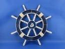 Handcrafted Model Ships Rustic-Dark-Blue-SW-Sailboat-18 Rustic Dark Blue Ship Wheel with Sailboat 18