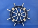Handcrafted Model Ships Rustic-Dark-Blue-SW-Seashell-18 Rustic Dark Blue Ship Wheel with Seashell 18