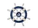 Handcrafted Model Ships rustic-dark-blue-white-sw-12-sailboat Rustic Dark Blue And White Decorative Ship Wheel With Sailboat 12
