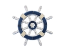 Handcrafted Model Ships rustic-dark-blue-white-sw-12-seashell Rustic Dark Blue And White Decorative Ship Wheel With Seashell 12