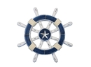 Handcrafted Model Ships rustic-dark-blue-white-sw-12-starfish Rustic Dark Blue And White Decorative Ship Wheel With Starfish 12