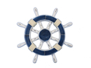 Handcrafted Model Ships Rustic-Dark-Blue-White-SW-12 Rustic Dark Blue and White Ship Wheel 12