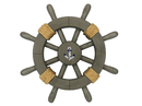 Handcrafted Model Ships Rustic-Grey-SW-12-Anchor Antique Decorative Ship Wheel With Anchor 12