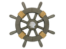 Handcrafted Model Ships Rustic-Grey-SW-12-Seashell Antique Decorative Ship Wheel With Seashell 12