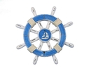 Handcrafted Model Ships rustic-light-blue-and-white-sw-12-sailboat Rustic Light Blue And White Decorative Ship Wheel With Sailboat 12