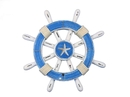 Handcrafted Model Ships rustic-light-blue-and-white-sw-12-starfish Rustic Light Blue And White Decorative Ship Wheel With Starfish 12