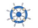 Handcrafted Model Ships Rustic-Light-Blue-and-White-SW-12 Rustic Light Blue and White Ship Wheel 12