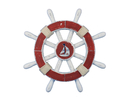 Handcrafted Model Ships Rustic-Red-and-White-SW-12-Sailboat Rustic Red And White Decorative Ship Wheel With Sailboat 12