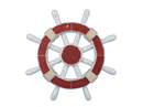 Handcrafted Model Ships Rustic-Red-and-White-SW-12 Rustic Red and White Ship Wheel 12