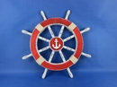 Handcrafted Model Ships Rustic-Red-SW-Anchor-18 Rustic Red Ship Wheel with Anchor 18