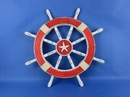 Handcrafted Model Ships Rustic-Red-SW-Starfish-18 Rustic Red Ship Wheel with Starfish 18