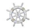Handcrafted Model Ships rustic-white-sw-12-sailboat Rustic White Decorative Ship Wheel With Sailboat 12