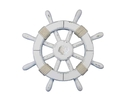 Handcrafted Model Ships rustic-white-sw-12-seashell Rustic White Decorative Ship Wheel With Seashell 12