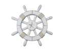 Handcrafted Model Ships rustic-white-sw-12-starfish Rustic White Decorative Ship Wheel With Starfish 12