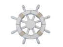 Handcrafted Model Ships Rustic-White-SW-12 Rustic White Ship Wheel 12