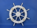 Handcrafted Model Ships Rustic-White-SW-Anchor-18 Rustic White Ship Wheel with Anchor 18