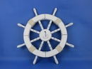 Handcrafted Model Ships Rustic-White-SW-Sailboat-18 Rustic White Ship Wheel with Sailboat 18