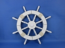 Handcrafted Model Ships Rustic-White-SW-Seashell-18 Rustic White Ship Wheel with Seashell 18