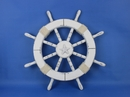 Handcrafted Model Ships Rustic-White-SW-Starfish-18 Rustic White Ship Wheel with Starfish 18